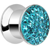 00 Gauge Zircon Blue Ferido Crystal Steel Screw Fit Plug