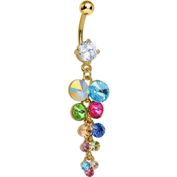 Multi Gem Gold Heavenly Drops Dangle Belly Ring