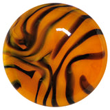 0 Gauge Orange Black Tiger Stripe Glass Saddle Plug