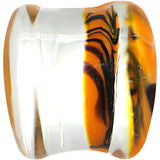 "1/2"" Orange Black Tiger Stripe Glass Saddle Plug"