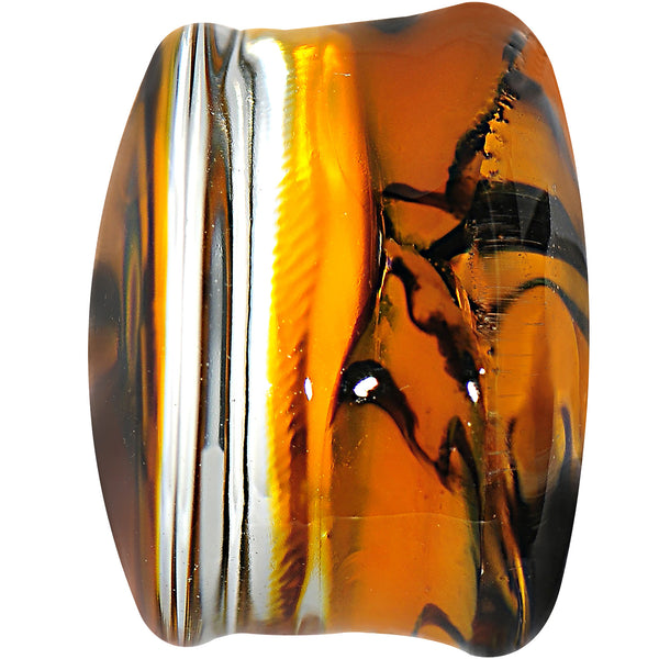 5/8Orange Black Tiger Stripe Glass Saddle Plug
