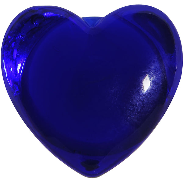 7/16 Deep Blue Heart Double Flare Glass Saddle Plug