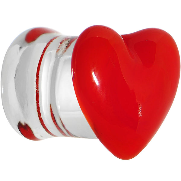 7/16 Fire Red Heart Double Flare Glass Saddle Plug