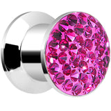 0 Gauge Fuchsia Pink Ferido Crystal Steel Screw Fit Plug