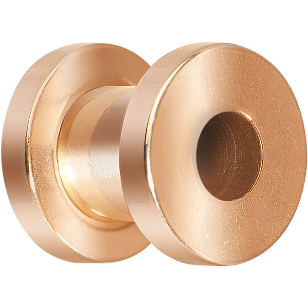 4 Gauge Rose Gold Plated Threaded Tunnel Plug