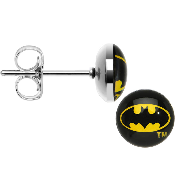 Licensed Classic Batman Logo Stud Earrings