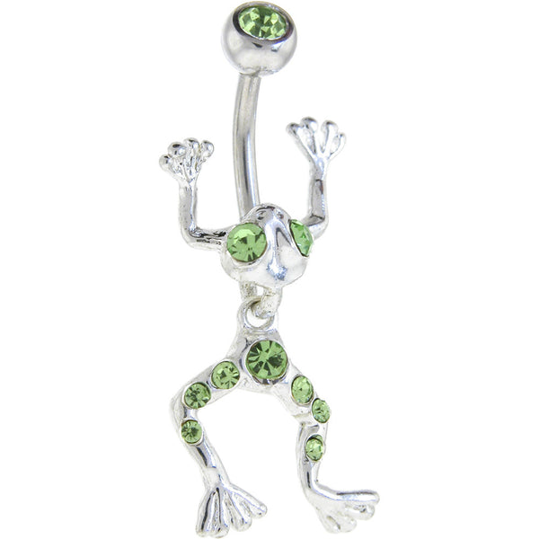 Imperial Green LEAPING FROG Dangle Belly Ring