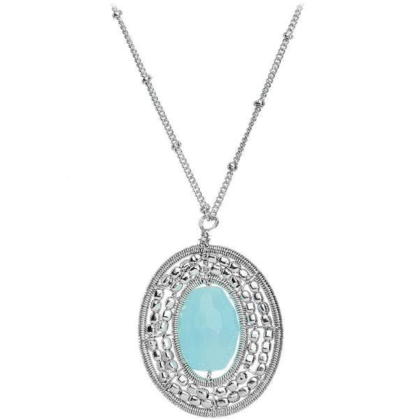 Fabulously Faux Oval Turquoise Pendant Necklace