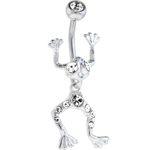 Crystalline LEAPING FROG Dangle Belly Ring