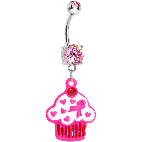 Pink Gem Breast Cancer Awareness Ribbon Cupcake Dangle Belly Ring