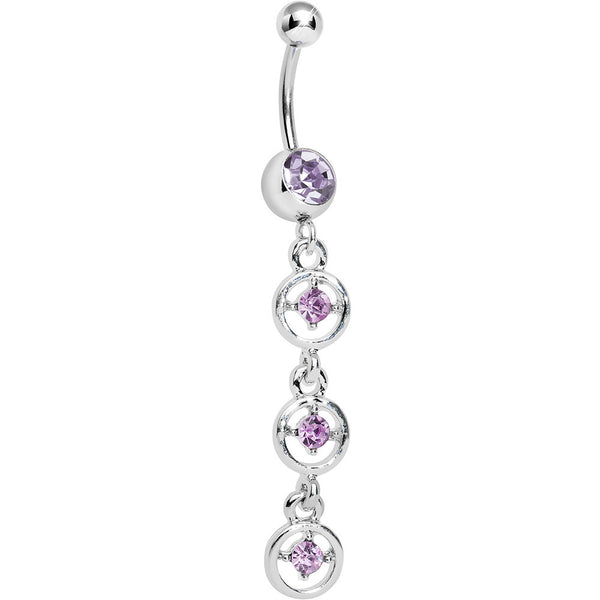 Amehtyst Purple Gem Cascading Droplets Dangle Belly Ring