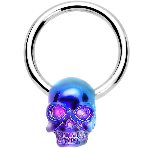 14 Gauge 1/2 Violet Blue Wicked Skull BCR Captive Ring
