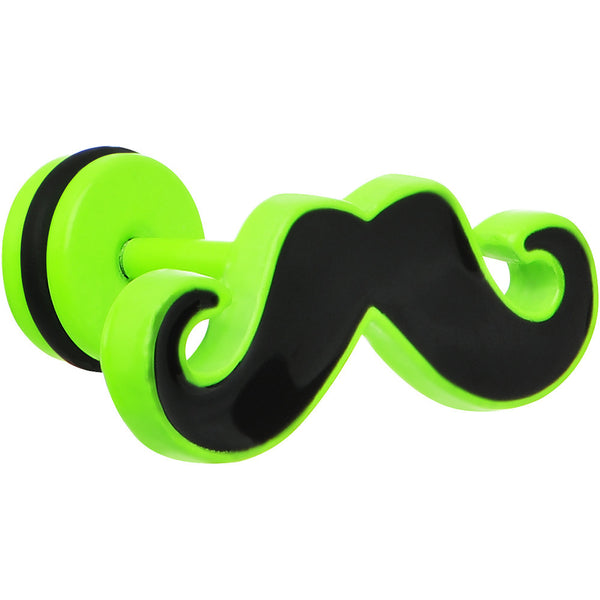 Black on Green Neon Enamel Mustache Cheater Plug