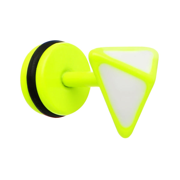 White on Light Green Neon Enamel 3-D Triangle Cheater Plug