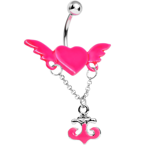 Neon Pink Angel Wing Heart with Nautical Anchor Drop Dangle Belly Ring