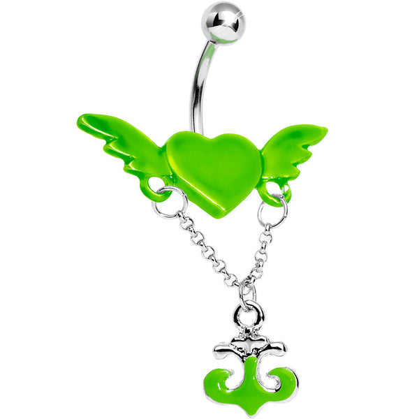 Neon Green Angel Wing Heart with Nautical Anchor Drop Dangle Belly Ring