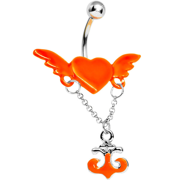 Neon Orange Angel Wing Heart with Nautical Anchor Drop Dangle Belly Ring