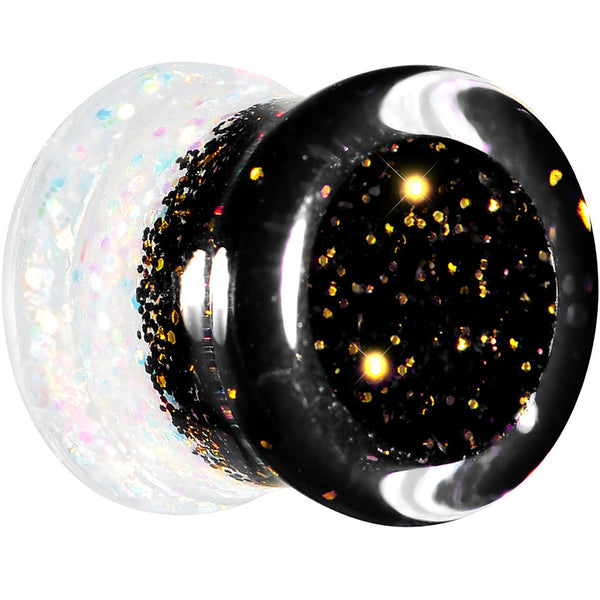 9/16 Black Gold White Acrylic Glitter Party Saddle Plug