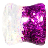 00 Gauge Purple Pink White Acrylic Glitter Party Saddle Plug