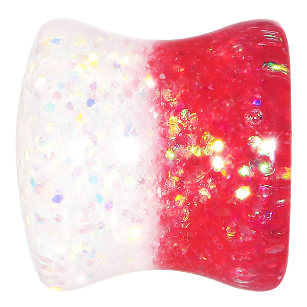 1/2 Pink Gold White Acrylic Glitter Party Saddle Plug