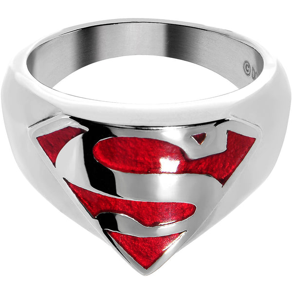 Licensed Stainless Steel Classic Red Superman Ring
