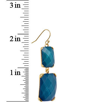 Gold Tone Dual Drop Blue Faux Stone Fishhook Dangle Earrings