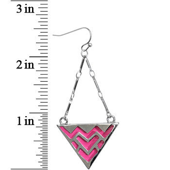 Silver Tone Pink Tribal Drum Dangle Earrings
