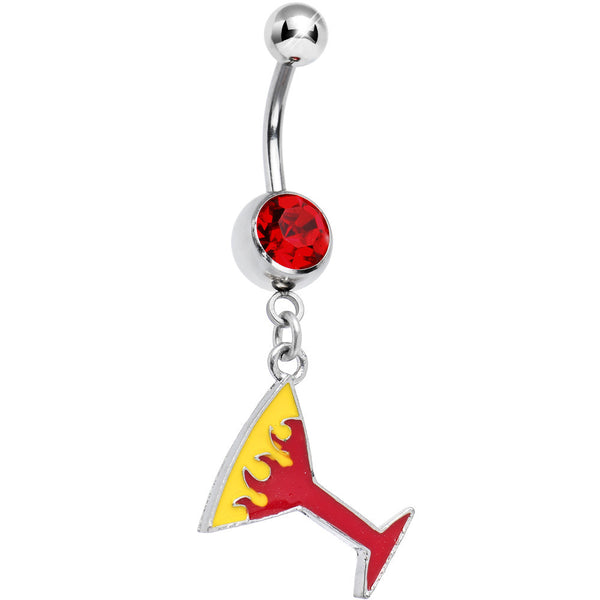 Ruby Red Gem FLAMING MARTINI Dangle Belly Ring