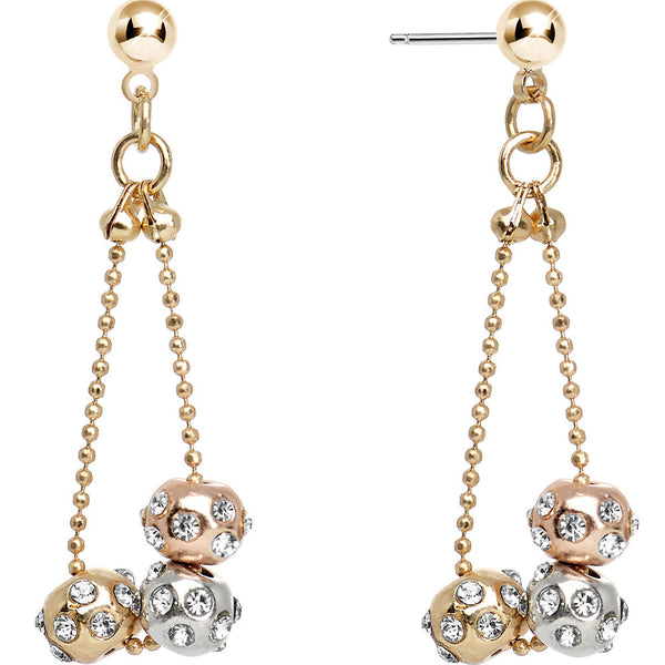 Crystalline Gem Gold Silver Rose Gold Tone Swaying Globes Dangle Earrings