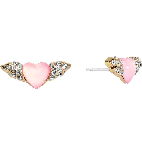 Crystalline Gem Winged Pink Heart Stud Earrings