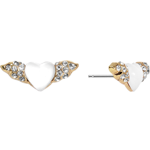 Crystalline Gem Winged White Heart Stud Earrings