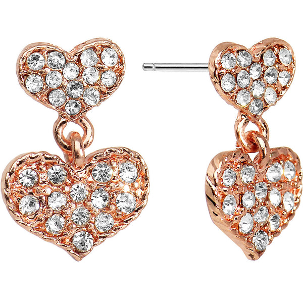 Crystalline Gem Rose Gold Tone Double Heart Dangle Stud Earrings