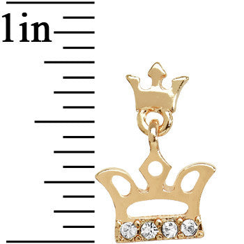 Crystalline Gem Gold Tone Double Crown Dangle Stud Earrings