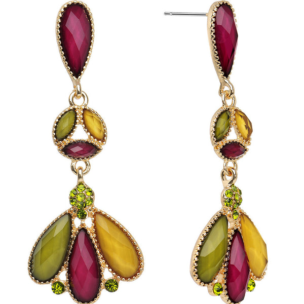 Autumn Color Falling Leaves Chandelier Earrings