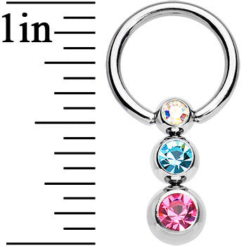 14 Gauge 3/8 Multi Gem Scads of Sparkle Dangle Captive Ring