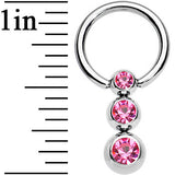 "14 Gauge 3/8"" Pink Gem Scads of Sparkle Dangle Captive Ring"