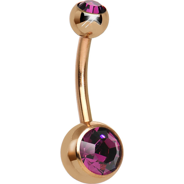 Dark Purple CZ Rose Gold Plated Belly Ring