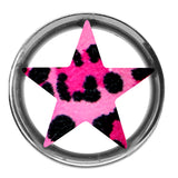 "1/2"" Pink and Black Leopard Print Star Tunnel Plug"