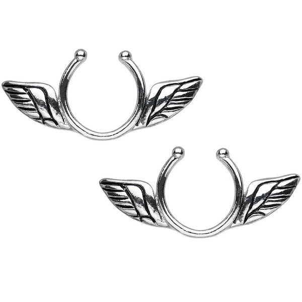 Antique Angel Wings Clip On Nipple Ring Set