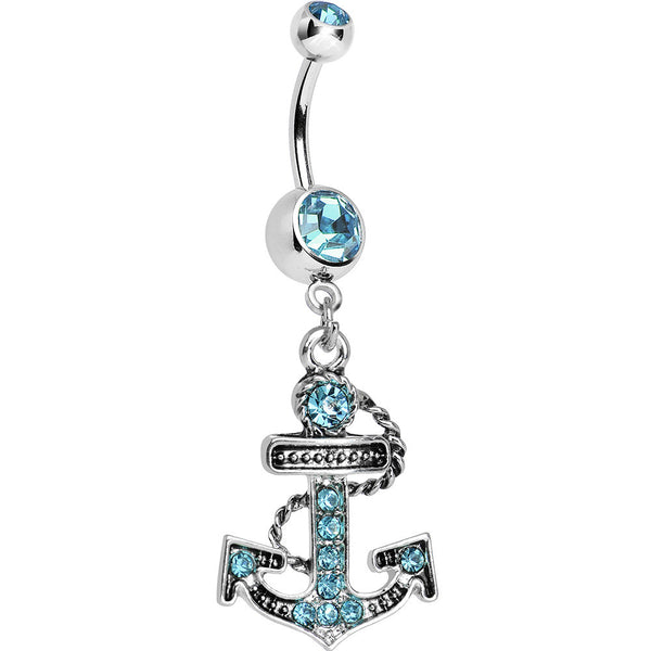 Aqua Cubic Zirconia Paved Roped Anchor Dangle Belly Ring