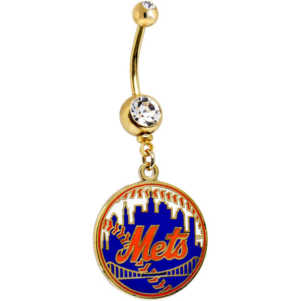 Major League Baseball Logo GOLD GEM Belly Ring - New York Mets