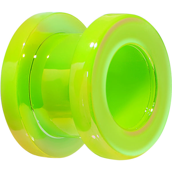 0 Gauge Iridescent Green Acrylic Screw Fit Tunnel Plug