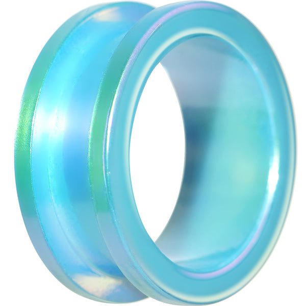 "1"" Iridescent Aqua Acrylic Screw Fit Tunnel Plug"