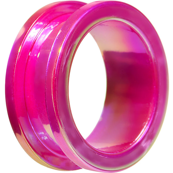 "7/8"" Iridescent Pink Acrylic Screw Fit Tunnel Plug"
