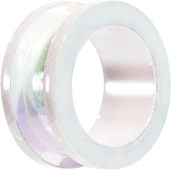 "1"" Iridescent Pearl White Acrylic Screw Fit Tunnel Plug"