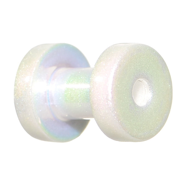 8 Gauge Iridescent Pearl White Acrylic Screw Fit Tunnel Plug