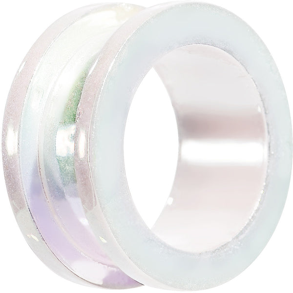 9/16 Iridescent Pearl White Acrylic Screw Fit Tunnel Plug