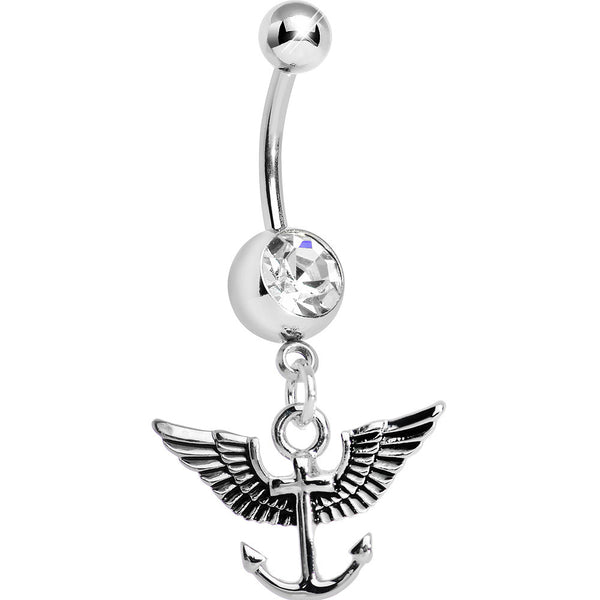 Clear Gem Antique Winged Anchor Dangle Belly Ring