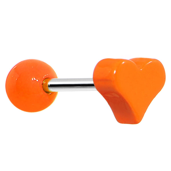 18 Gauge Orange Neon Heart Cartilage Earring