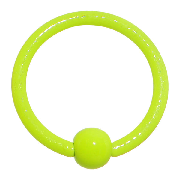 "18 Gauge 3/8"" Neon Yellow BCR Captive Ring 3mm Ball"
